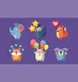 funny animal characters having fun at birthday vector image vector image