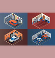 garage interior banner set isometric style vector image vector image