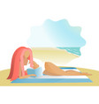 girl reading book on the sea beach vector image