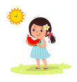 girl with watermelon in vector image vector image