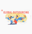global outsourcing landing page template vector image vector image