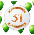 Golden number thirty one years anniversary vector image vector image