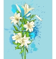 hand-drawn lily on blue background vector image