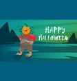happy halloween banner jack lantern trick or treat vector image