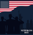 happy veterans day silhouette soldiers saluting vector image vector image