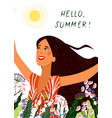 hello summer happy joyful face girl on the white vector image vector image