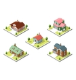 isometric buildings set Flat style vector image vector image