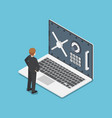 isometric businessman standing with laptop and vector image