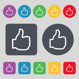 Like icon sign A set of 12 colored buttons Flat vector image vector image