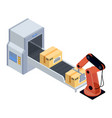 machine packing products in boxes for shipment vector image