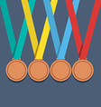 Many Bronze Medals With Colorful Ribbon vector image
