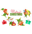 merry christmas elves with presents for holidays vector image vector image