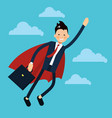 office business super man flying icon in flat vector image