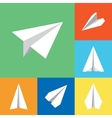 Paper Origami Plane Flat Icons Set vector image