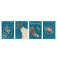 set vintage space banners galaxy poster in vector image vector image