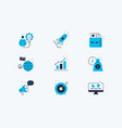 startup line icons set vector image vector image