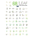 Thin line leaf geometric icons vector image