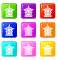 traditional korean pagoda icons 9 set vector image