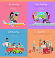 traveling banners set vector image