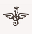 treble clef sign with wings vector image