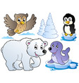 various happy winter animals vector image