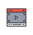 video player on browser multimedia page vector image vector image