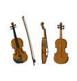 violin in different angles view front side vector image vector image