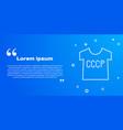 white line ussr t-shirt icon isolated on blue vector image vector image