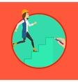 Woman running upstairs vector image vector image