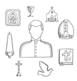 Priest and religious icons or symbols sketch vector image