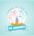 14 january coming of age day vector image vector image