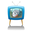 A big fish in the television vector image vector image
