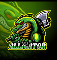 alligator esport logo mascot design vector image vector image