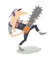 Angry man with chainsaw vector image vector image