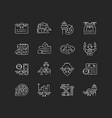 aviation chalk white icons set on black background vector image