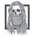 bearded skull witch long hair vector image vector image