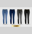 blank leggings mockup set blue and gray denim on vector image vector image