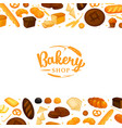 bread products on white background poster frame vector image vector image