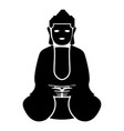 buddha icon black color flat style simple image vector image vector image