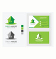 business card with logo green color house vector image