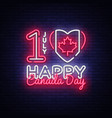 canada day neon design template happy vector image vector image