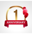Celebrating 1st years anniversary golden label vector image vector image