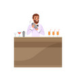 cheerful bartender mixing a cocktail drink in vector image vector image