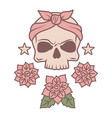 cute skull and flowers tattoo template vector image