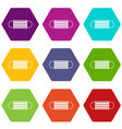 disposable face mask icon set color hexahedron vector image vector image