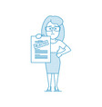 dissatisfied woman shows a document with a vector image