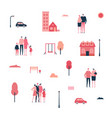 Family in the city - flat design style set of