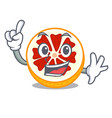finger grapefruit in a mascot wooden bowl vector image vector image