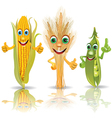 Funny vegetables corn ears of corn peas vector image