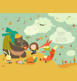 girl with animals at picnic vector image vector image